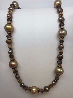 """STERLING SILVER GENUINE CHOCOLATE PEARL NECKLACE 17""""-19"""" #Chain"""