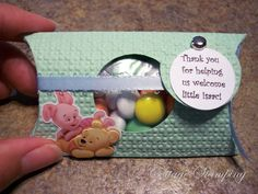 winnie the pooh baby shower favor. Simple pillow box filled with candy, add ribbon and tag in color of choice, and Pooh sticker