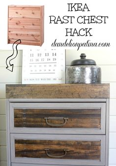 Ever thought of using paint sticks to transform an IKEA piece? Yes you can! Check out the tutorial of the IKEA Rast Hack dandelionpatina.com