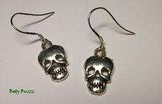 Skull earrings. Simple yet deadly silver tone skull by BodyBuzzz