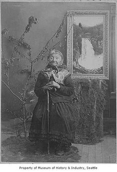 Princess Angeline with painting of Snoqualmie Falls, Seattle, 1890