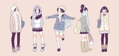 Adorable Winter Outfits- credit to artist.