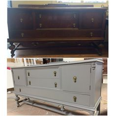 Antique Buffet before and after- sprayed in SW0077 Classic French Gray in Sherwin Williams in an eggshell sheen!