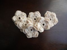 Crochet flower applique - Double layer in ecru 5 petals wedding $3.00  #thecraftstar #onlineshopping #craftingsupplies #handmadeflowers #whiteflowers