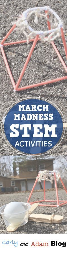 March Madness STEM activity build a basketball shooter and a basketball hoop.
