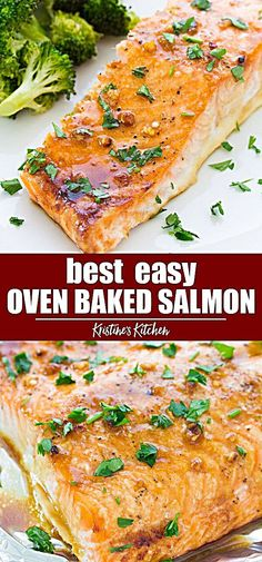The best easy oven baked salmon recipe! The salmon is cooked in a honey garlic s.- The best easy oven baked salmon recipe! The salmon is cooked in a honey garlic s… The best easy oven baked salmon recipe! The salmon is… - Sushi Recipes, Seafood Recipes, Cooking Recipes, Healthy Recipes, Dinner Recipes, Easy Recipes, Beef Recipes, Chicken Recipes, Baked Salmon Recipes Healthy