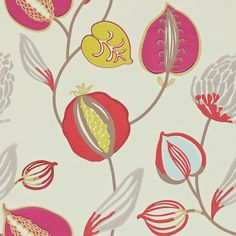 Floral vines in scarlet, orange, lime, blue and grey on a cream background Dimensions: 20.5 inches x 11 yards Repeat: 20.5 inch Straight Match Lead Time: 1-2 Weeks if in stock at mill Order Sample How much wallpaper do I need?