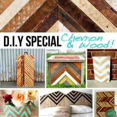 Chevron & wood DIY Special: Check out some of the projects on this page! Those planters are awesome!