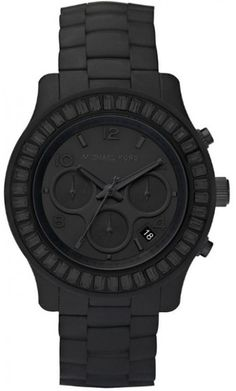 Michael Kors Polyurethane Chronograph Quartz Women's Watch, Polyurethane, Black Dial, MK5395