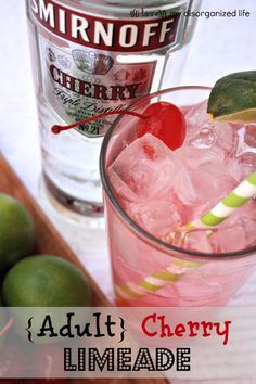 (Adult) Cherry Limeade This cherry limeade cocktail recipe combines cherry flavored vodka, fresh limes, maraschino cherries, and a splash of lemon-lime soda. Get the recipe here! – Cocktails and Pretty Drinks Cocktails Vodka, Cocktail Drinks, Cocktail Recipes, Vodka Martini, Alcoholic Beverages, Martinis, Summer Cocktails, Malibu Cocktails, Vodka Punch