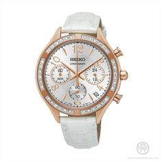 SEIKO Quartz Watch ► Gold Case / White Dial & Band ► Chronograph / Date ► Stainless Steel Case / Leather Band ► 38mm Case / 20mm Band ► Water Resistant 50m Ref:SSB888P1 Shop now on Amazon.com for US$236
