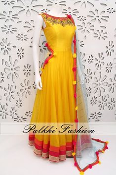 PalkhiFashion Exclusive Full Flair Light Yellow Pure Silk Outfit with Elegant Work and Duppata.