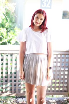 Silver pleats! #fashion #style #ootd #silver #pleatedskirt #skirt #summer #croptop