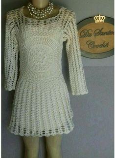Crochê  com Estilo!!!    by  Du Santos Crochê Ateliê... Handmade sob medida envio ☞📬  ✈    PAC/sedex    pedidos  ☞  ☎ whats 61 8466-9720 #dusantoscrocheateliê Crochet Fashion, Dresses With Sleeves, Crochet Dresses, Long Sleeve, Sweaters, Taylormade, Crochet Clothes, Saints, Style