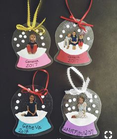 These cute little photo snow globe ornaments were created by Me Diese süßen kleinen Foto-Schneekugel-Ornamente wurden von Megan Hayashi hergestellt! Hier ein… – Chr These cute little photo snow globe ornaments were made by Megan Hayashi! Here is a …, - Kids Crafts, Daycare Crafts, Winter Crafts For Kids, Preschool Crafts, Kids Diy, Cute Christmas Gifts, Easy Christmas Crafts, Christmas Art, Christmas Decorations