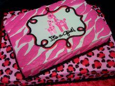 Pink Cheetah and Zebra Print Baby Shower Cake