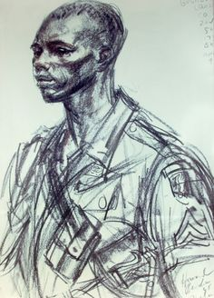 A young African-American soldier, as sketched by Howard Brodie. Howard's son Bruce says that during World War II, his father was attached for a time to an all-black unit and was deeply affected by the prejudice he saw there. History Of Illustration, Charcoal Portraits, Black African American, American Soldiers, Colorful Drawings, Black History Month, Caricature, Cool Art, How To Draw Hands