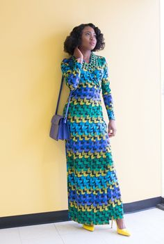 A fun and chic way to wear a wrap around dress. Modest, colorful, vibrant, and confident.