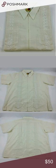 The Genuine Haband Guayabera / Chacavana Awesome Creme colored dress shirt with quality  Embroidery for Weddings , Church , Special Occassions , and  perfect for A  casual  Sleek Look .  You cannot get wearing anything else . New Without Tags  No defects , or damages . Haband Shirts Dress Shirts