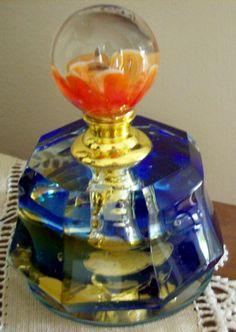 Stunning Blue & Tangerine MURANO Glass Cristalleria Ann Primrose Perfume Bottle