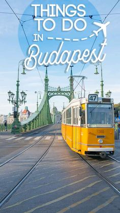Tram crossing the liberty bridge in Budapest