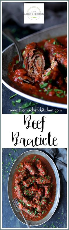 Beef Braciole is a company-worthy, classic, hearty, homestyle southern Italian dish that's perfect for a winter night!  Thin slices of beef, a savory filling in a wine-infused sauce you'll fall in love with! via @chefcarolb