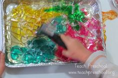 Exploring and creating with sugar glass by Teach Preschool- Decorate gingerbread houses!