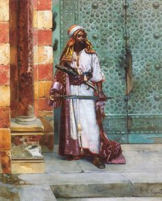 """leseanthomas: Mind-blowing oil paintings by Austrian/Jewish painter, LUDWIG DEUTSCH, LEON GEROME & RUDOLF ERNST in the late 1800s: The subject, """"The Palace Guard"""" were depictions of North African medieval Muslims, THE MOORS, who settled in & ruled Northern Africa and invaded and conquered many parts of what we would now consider """"Southern Europe (Spain, Portugal, France & Southern Italy-ala Sicily)"""" for nearly 800 years, from as early as the 7th to the 15th century. Their ..."""