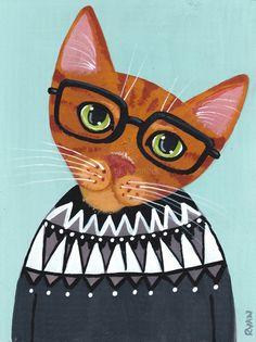 Kitty in a Lopapeysa Original CAT Folk Art Painting by KilkennycatArt