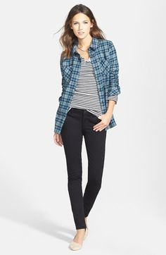 Treasure&Bond Plaid Shirt, Split Neck Top & Skinny Jeans  available at #Nordstrom
