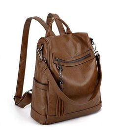 Buy Women Anti-Theft Backpack Purse PU Washed Leather Ladies Tassels Convertible Rucksack Shoulder Bag - Brown - and More Discount Women Backpacks Sale up to off. Handbags On Sale, Luxury Handbags, Purses And Handbags, Leather Backpack Purse, Backpack Handbags, Rucksack Backpack, Anti Theft Backpack, Cheap Purses, Casual Bags
