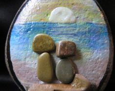 pebble art pebbleart painted rock stone ocean beach sunset sunrise friends friend mother daughter