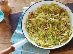 Sauteed Cabbage - 1 small head white cabbage, including outer green leaves (2 1/2 pounds), 2 tablespoons butter, 1 1/2 teaspoons salt, 1/2 teaspoon black pepper - Cut cabbage in half & with cut-side down, slice as thinly as possible around core. Discard core. Melt butter in saute pan med-high heat. Add cabbage, salt & pepper & saute 10 to 15 minutes, stirring occasionally, until cabbage is tender & begins to brown. Season, to taste & serve warm.