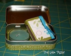 The Mint that Keeps on Giving: Altoid Tin Ideas 1. Purse-sized first aid kit...example here,  2. Tooth tin for the tooth fairy  3. Purse-sized sewing kit  4. Earphone container (I love this because now my earphones are never tangled up)  5. Change purse  6. Crayon container  7. Carry your sweetner of choice  8. Carry your pins (hair pins, safety pins, etc.)  9.  Decorate them for party favors (filled with candy or lipgloss, etc)  10.  Emergency candles or decorative (click here for tutorial)  11. Glue some strong magnets to the back and it can hold other magnets on your fridge, or twisty ties (it's those depression girls again that save the twisty ties)  12. Traveling intimacy kit (condoms, chocolates, wipes, etc.)  13. You can create a memory game that fits in the tin (using pictures of your family might be fun).  14. I've used them to hold jewelry when I'm traveling.  15. I've given them to the kids at the beach and say that if it can't fit in there, they can't bring it home.  16. Gift boxes for small presents.  17. Nice snack container for cheerios, etc.  18. When you're in another country it keeps your toilet paper dry and intact as you tour around.  19. Fill it with quarters and give it as a gift to the graduate who is off to college and staying at the dorms...laundry money.  20. Bragbook or Memorybook - see tutorial below  21.  Of course you can always use it to hold mints and candy and stuff...