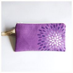Handpainted Linen Zipper Pouch Padded Zipper Pouch by soarshadow