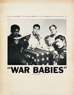 """Poster for the """"War Babies"""" exhibition at Huysman Gallery, Los Angeles, 1961"""