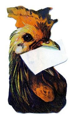 Vintage Clip Art - Cute Chicken with Mail - The Graphics Fairy