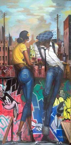 """Conversation"" piece by Frank Morrison"