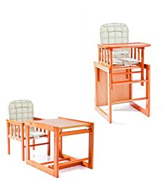 high chair the tray design that overhangs the table is what i like