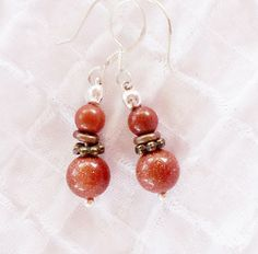 SALE Tiny Goldstone & Red Jasper Earrings by allthingsbarbara