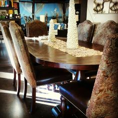 The Casablanca Dining Table and Chairs from Home Trends. Made out of recycled railroad ties from India. Treated and assembled with the highest quality that is Home Trends.
