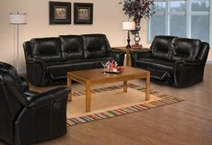 2 Pc. Black Hayward Collection Leather Match Advanced Power Motion Technology Dual Reclining Sofa and Loveseat
