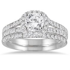 14k White Gold 1 1/2ct TDW Round Diamond Halo Bridal Set (I-J, I2-I3) - Overstock™ Shopping - Top Rated Bridal Sets