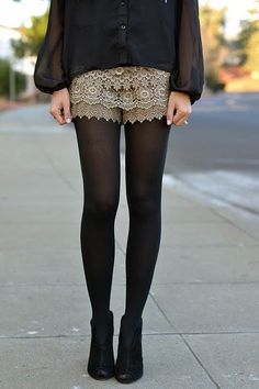 lace shorts, black tights, black ankle boots