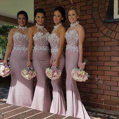 Beautiful High Neck Mermaid Bridesmaid Dresses Long