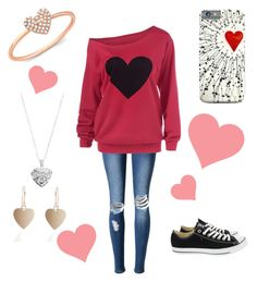 """""""Valentine's Contest! RTD"""" by beccascurls ❤ liked on Polyvore featuring Silver Expressions by LArocks, Anne Sisteron, WithChic, Converse and curlyfryvalentine"""