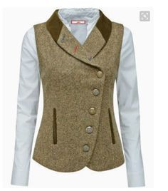 Bring a touch of the English countryside to your look with this tweed waistcoat. Assorted buttons and contrast buttonholes add a twist to the traditional feel. Outfit Stile, New Mode, Tweed Waistcoat, Country Outfits, Vest Jacket, Hijab Fashion, Ideias Fashion, What To Wear, English Countryside