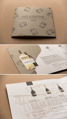 Brochure selezione vini Ad Hoc | www.ofmagnet.com #ofmagnet #brochure #wine #selection #hand #drawing #layout #grid #product #promotion