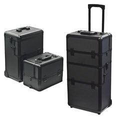 "Rolling Cosmetic Makeup Case 2 in 1 Make up Artist Case Aluminum Construction Bk by Sky Enterprise USA. $124.95. Solid cast-aluminum frame. Removable top tray. Black ABS construction. plastic handle and wheels. Overall dimensions: 14.5"" (W) x 9.5"" (D) x 38.5"" (H) (with Handle up). This 2-in-1 case is great for all you beauty professionals. These cases fit together to create one case that rolls easily. It features several large and small compartments that are adjustable and ..."