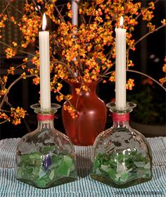 Sea-Glass filled candle holders, Looks like patron bottles . Patron Bottle Crafts, Liquor Bottle Crafts, Patron Bottles, Bottle Painting, Bottle Art, Party Rock, Chandeliers, Sea Glass Crafts, Altered Bottles